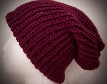 Enna in Berry~ A Hand Knit Beanie Style Hat