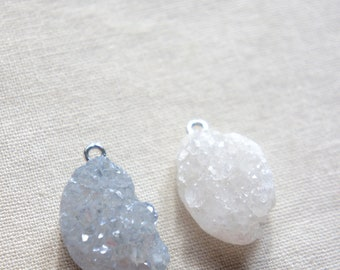 Druzy stone pendants gray druzy white druzy stone pendant lot pair of druzies stone pendants druzy pendants from The Jewelers Wife