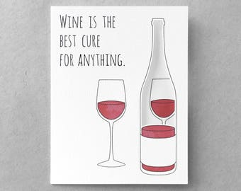 Funny sympathy card | Funny encouragement card Cheer up Wine card Friend card Sister card Best friend