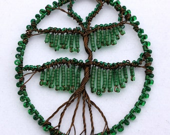 Willow Tree Wire Wrapped and Beaded Pendant Made to Order