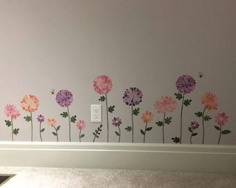 Garden Wall Decals - Flower Fabric Wall Decals