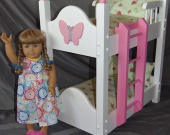 Doll Bunk Bed with Adorable Lady Bug Bedding For American Girl Doll and 18 inch dolls