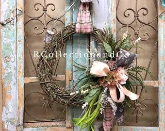 Summer Wreath, Door Decor, Grapevine Wreath, Everyday Wreath