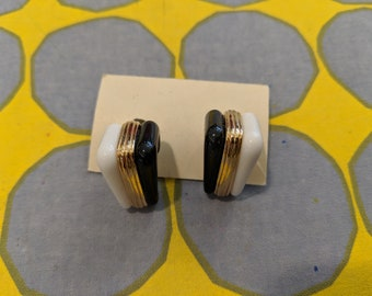 1980s // THREE TIER  // Vintage Black, Gold, and White Earrings