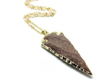 Arrow head necklace, rose quartz necklace, rose quartz arrow, arrow necklace, crystal necklace, Rose quartz jewelry, rose quartz pendant,