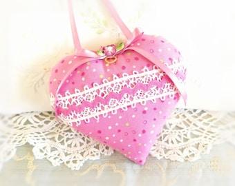 "Mother's Day Heart Ornament Elegant Heart Door Hanger, 5"" Heart Pillow, Pink Polka Dot Print, Handmade CharlotteStyle Decorative Folk Art"