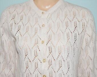 Vintage 60's White Knit Button Down Cardigan Sweater - Medium