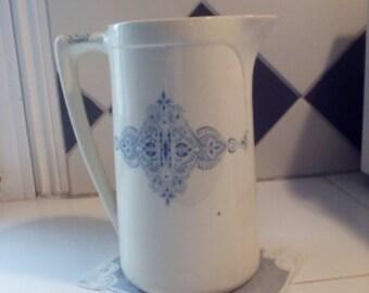 Vintage French pitcher, Luneville, pot, water jug, pitcher