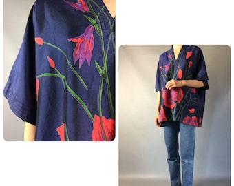 Silk Oversized Top 1990's Vintage Women's Blouse Floral Print Slouchy Shirt Short Sleeves Minimalist Blouse L Xl 10 US 12 UL Top Blue Red