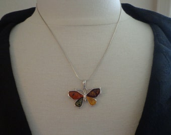 "Amber and Sterling Silver Butterfly Pendant, Multi Color,  18"" Sterling Snake Chain, Estate Find"