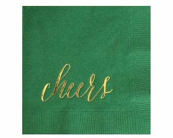 Cheers Napkins - Gold Foil Napkins - St Patricks Day Napkins