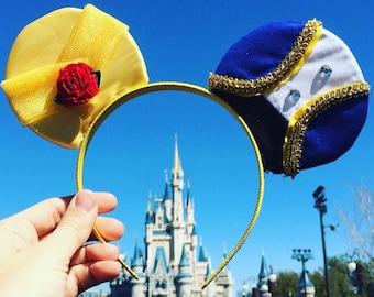 Beauty and the Beast Disney Inspired Ears Minnie Vacation Land World Headband Handmade