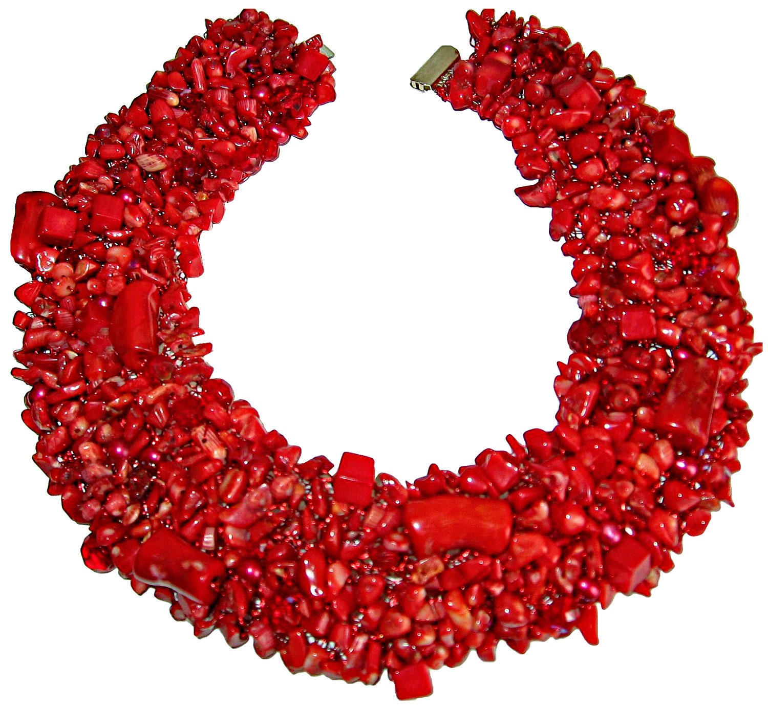 Red Coral Statement Collar Necklace