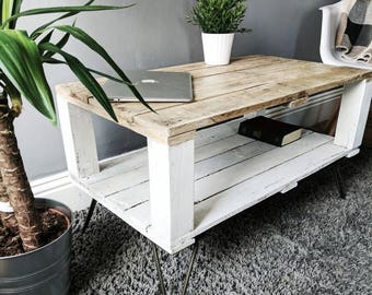 Reclaimed Pallet Coffee Table AHVIMA in Farmhouse Style, Boho Distressed Design, Rustic Salvaged Wood, Hairpin Legs