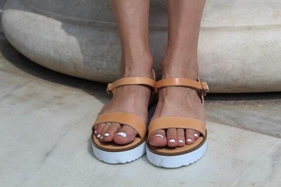 Ancient sandals sandals Platform Women strap Beige grecian sandals sandals Summer sandals Ankle Greek sandals leather Leather sandals R4vw5qIpnx