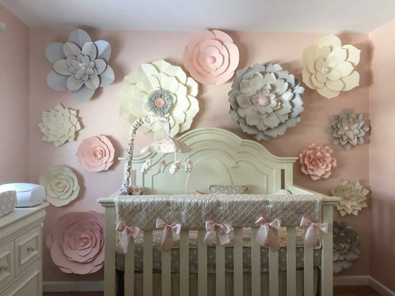 Large Paper Flowers Set of 15 Paper Flower Wall Baby