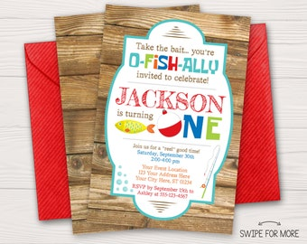 Fishing Birthday Invitation | Fishing First Birthday Invitation | Colorful Fisherman Invitation | Personalized and Printable