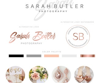 Logo Design - Photography Logo - Wedding and Events Logo - Rose Gold Foil Logo - Watermark Logo - Rose Gold Photography Logo Kit - Logo  74