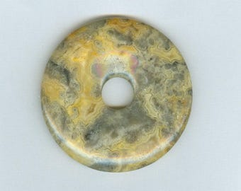 Yellow Agate Donut, 50mm Yellow and Gray Crazy Lace Agate Gemstone PI Donut Pendant 813