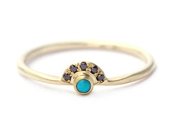 Pave Black Diamond Ring, Delicate Turquoise Band, Tiny Turquoise Ring, Turquoise Diamond Ring, Boho Engagement Band, Turquoise Promise Ring