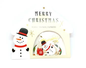 Christmas stickers stickers / pack of 45 pieces of Christmas stickers /pack snowman snow Santa Claus decoration emaballage present