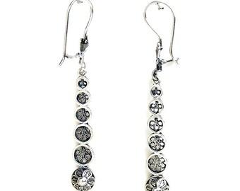 925 Sterling Silver Artisan Filigree Earrings, Women Jewelry - ID1075