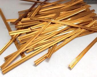"100 Metallic Copper Gold Orange Twist Ties - 4"" length"