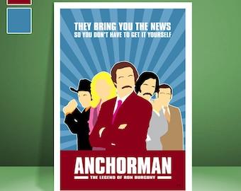 Anchorman // Ron Burgundy // Will Ferrell // Movie Poster // Unique Art Print