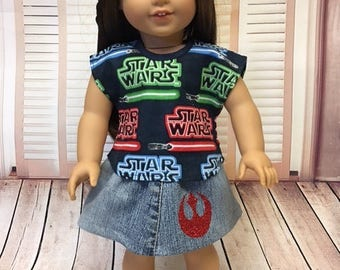 Famous Space Movie Top and Skirt fits American Girl and 18 inch dolls
