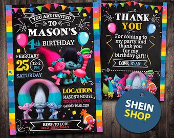 Trolls Invitation, Trolls Birthday Invitation, Trolls, Trolls Printable, Trolls Card, Trolls Invite Party, Trolls Digital