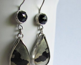 Iron Pyrite and Black Spinel Earrings - Apache Gold Earrings - Teardrop Earrings - Fool's Gold