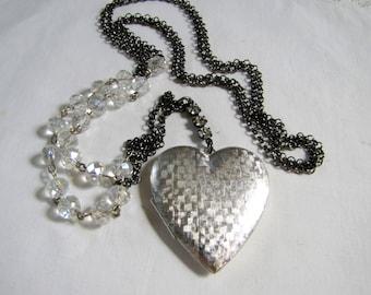 Silver Locket Brushed Silver Heart Locket Photo Locket Picture Locket Gothic Jewelry Romantic Locket Love Necklace Silver Vintage Locket