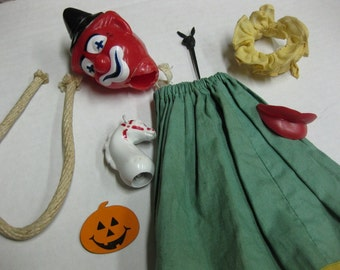 Clown Horse Lips Rope Toy 8 Parts Supplies Altered Art Assemblage Lot Reduced Sale