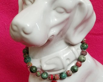 Green and Red Glass Bead Necklace for Small Dogs with Red Rose Accent