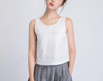 white linen top, sleeveless top women, loose tank top, white tank top, white summer blouse, casual blouse women, top blouse summer 1946