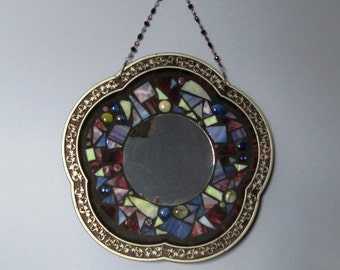 "STUNNING Mosaic Mirror Big Flower With Stained Glass 13.5"" Vintage Flower Tin Tray Repurposed in Burgundy, Pink, Silver and Blue"