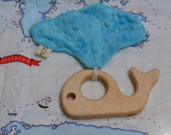 Maple Wood Whale Teether with Fabric Crinkle Spout