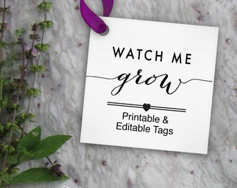 Watch Me Grow Tags Printable, Editable Favor Tag // Baby Shower Tags or Birthday Tags // DIY Digital PDF // 2 inch Square 2x2 Template