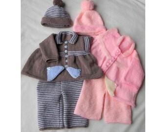 Baby Knitting Pattern Jacket, Hat, Trousers, Pants Knitting Pattern 2 Sizes DIGITAL DOWNLOAD 178