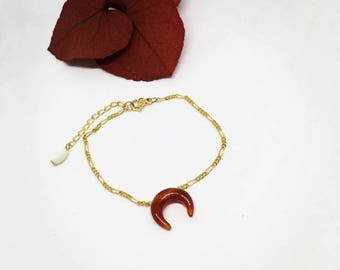 Bracelet Moonstone CARNELIAN plated gold