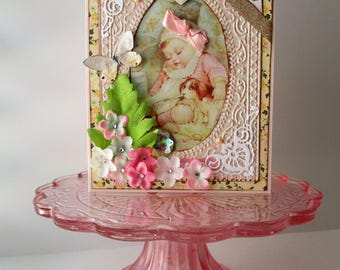 Handmade Card New Baby Girl - Welcome Baby Card - Vintage-style Baby Card - Victorian dog
