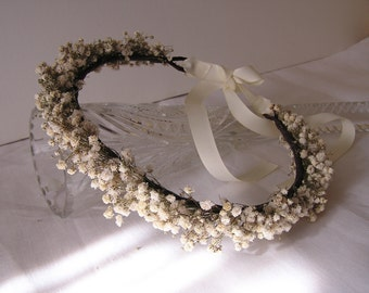 Dried Baby's Breath Bridal Hair Crown, Baby's Breath Flower Crown, Wedding Crown Bridesmaid Hair Crown, Rustic Crown White Flower Crown