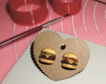 Cheeseburger Earrings, Fast Food earring, Hamburger Stud Earring, Polymer Clay Food Burger