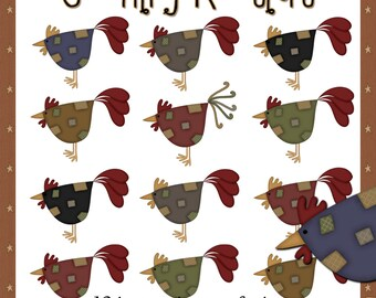 Country Roosters - Digital Country Rooster Images for use in Scrapbooking and Paper Crafts
