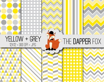 Yellow and Grey Geometric Digital Paper Pack - INSTANT DOWNLOAD - 12x12 - gender neutral baby shower - chevron, stripes, dots