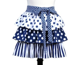 Womens Flirty Retro Half Apron Cute Navy Blue and White Polka Dots Three Layer Ruffled Completely Lined