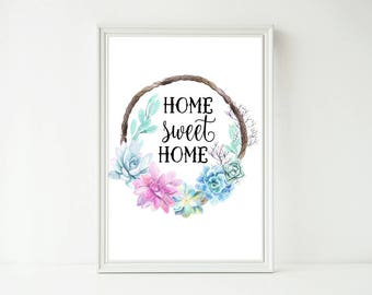 Home Sweet Home Cactus Succulent Watercolor Print, Home Decor Wall Art