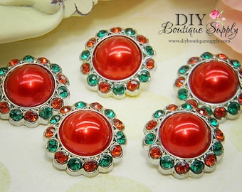5 pcs 23mm CHRISTMAS Pearl buttons Red & Green - Holiday  Rhinestone Pearl Embellishments - Flower centers Headband Supplies 178040