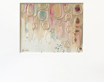 Abstract Circles Plaster Painting in Metallic Gold, Cream, Pink, and Teal with Acid-Free White Mat - Original Acrylic Art on Panel with Mat