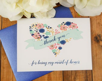Thank You for being my MAID OF HONOR Card, Maid of Honor Card, Maid of Honor Gift, Maid of Honor Thank You Card, Wedding Thank You Cards